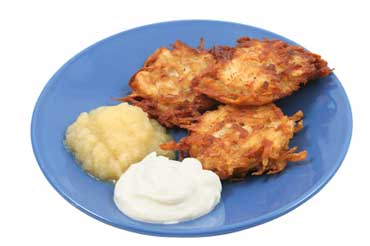 Latkes - Potato Pancakes Served with Applesauce and Sour Cream