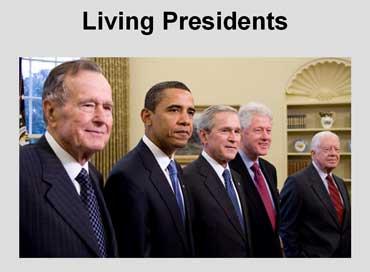 George H.W. Bush, Barack Obama, George W. Bush, Bill Clinton, Jimmy Carter