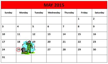 Memorial Day Calendar 2015