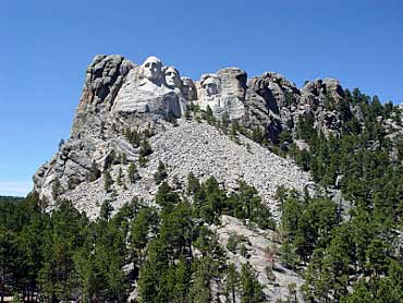 View of Mount Rushmore Mountain with Trees