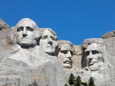 Presidents Washington, Jefferson, Rooservelt, and Lincoln