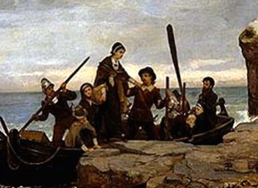 Pilgrims Landing on Plymouth Rock in Massachusetts in 1620, Painting by Bacon
