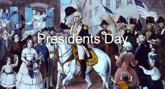 Presidents Day Banner Showing George Washington in New York