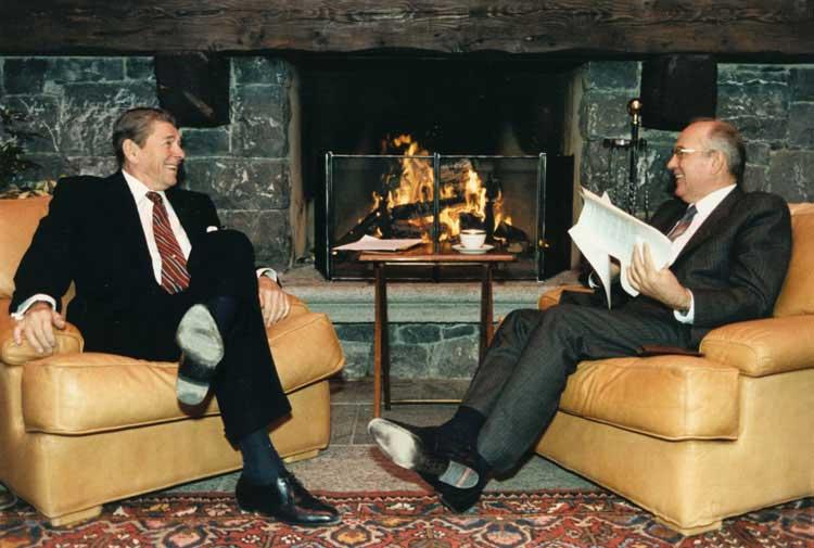 U.S. President Ronald Reagan with Soviet President Gorbachev
