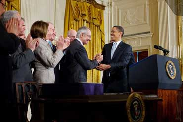 President Barack Obama Shaking Hands with Senate Majority Leader Harry Reid