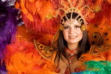 Woman Wearing Mardi Gras Costume with Feathers