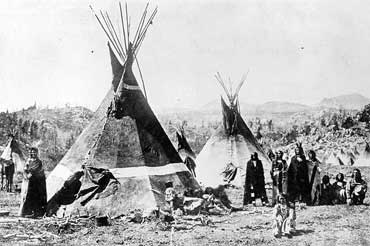 Shoshoni Indians and Teepees