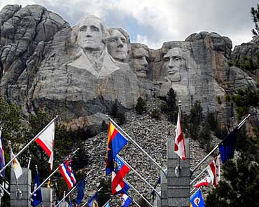 State Flags at the Enterance of Mount Rushmore