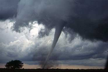A Tornado Touching the Ground