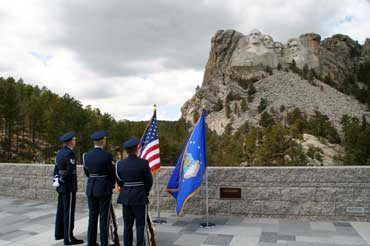 Air Force Officers Looking at Mount Rushmore