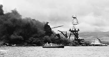 USS Arizona Sinking During Pearl Harbor Attack