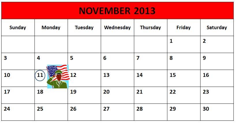Veteran's Day, November 11