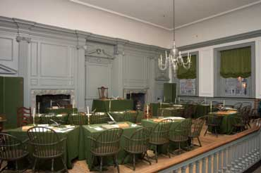 Inside Independence Hall in Pennsylvania