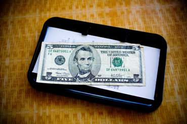 Tip Tray with Money