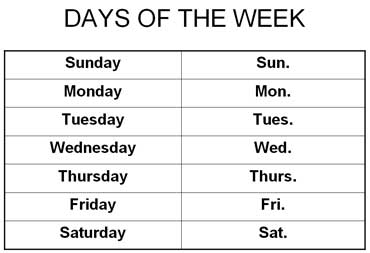 Abbreviations for Days of the Week