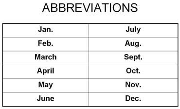 Abbreviations for Months of the Year