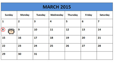 Daylight Savings Time Calendar - Sunday, March 8, 2015