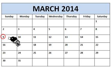 Daylight Savings Time Calendar - Sunday, March 9, 2014