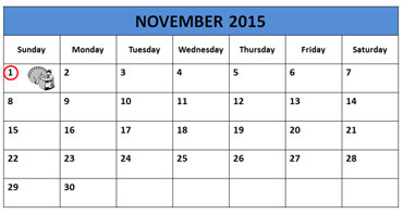 Daylight Savings Time Calendar - Sunday, November 1, 2015