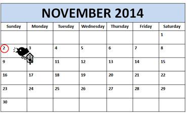 Daylight Savings Time Calendar - Sunday, November 2, 2014