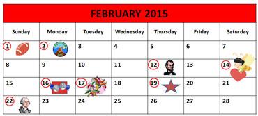 February Calendar 2015