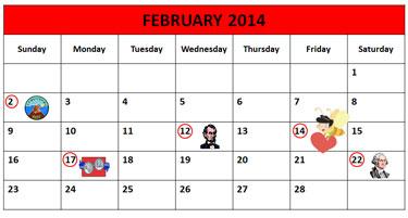 February Calendar 2014