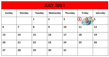 July Calendar 2014