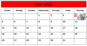 July Calendar 2015