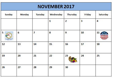 Daylight Savings Time Calendar - Sunday, November 5, 2017