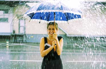A Woman Holding an Umbrella in the Rain