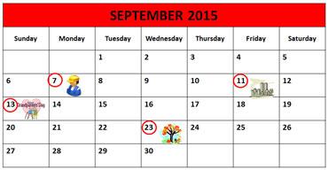 September Calendar 2015