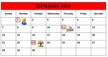 September Calendar 2014 Calendar