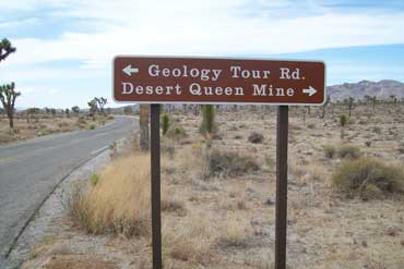 Geology Tour Sign in Joshua Tree Park