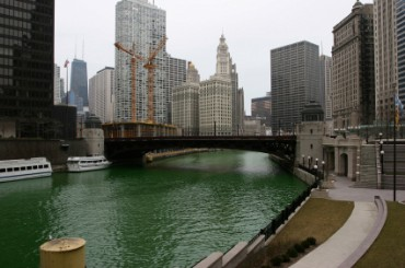 Chicago River Dyed Green for Saint Patrick's Day
