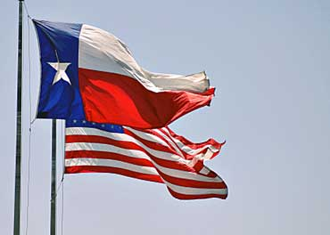 Texas Flag Flying with Flag of the United States