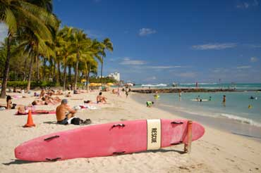 Waikiki Beach on Oahu Island in Hawaii