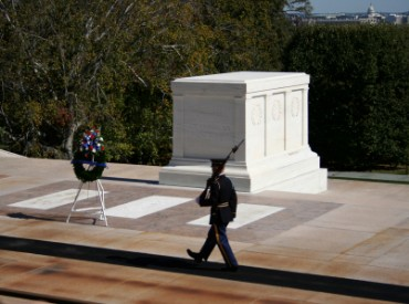 Tomb of Unknown Soldier in Arlington National Cemetery in Virginia