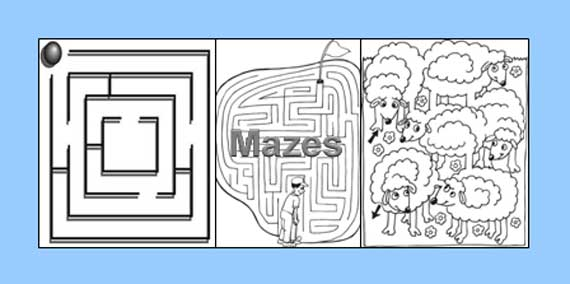 Mazes - Free Game Worksheets