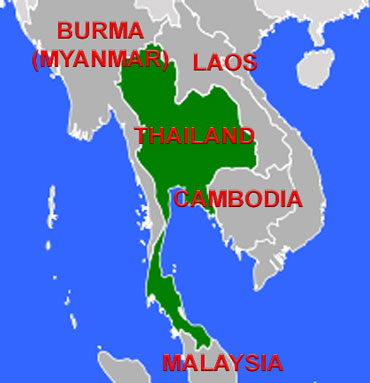 Map of Thailand in Southeast Asia